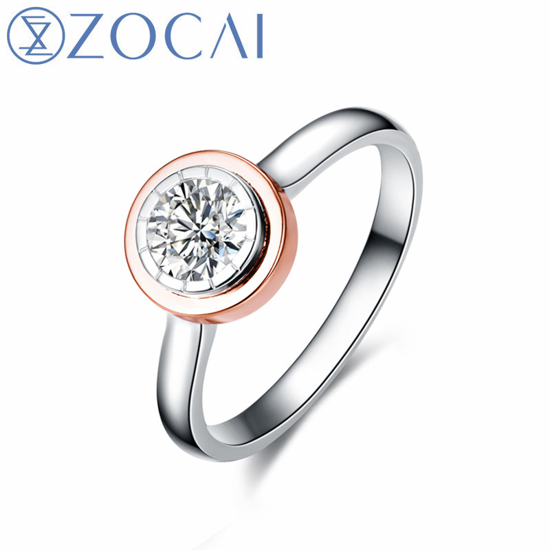 ZOCAI TIME&LOVE ENGAGEMENT RING 0.10 CT NATURAL CERTIFIED H / SI DIAMOND RING ROUND CUT 18K WHITE AND ROSE GOLD TGW90205TZOCAI TIME&LOVE ENGAGEMENT RING 0.10 CT NATURAL CERTIFIED H / SI DIAMOND RING ROUND CUT 18K WHITE AND ROSE GOLD TGW90205T