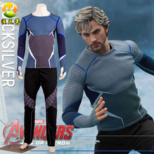 Hot Sale The Avengers Age of Ultron Quicksilver Costume Superhero Cosplay Full Set Halloween Party Set