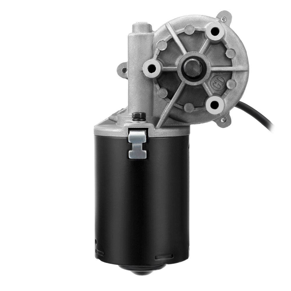 DC 24V 50/52RPM 4A 50kg.cm 10mm Shaft High Torque Left Right 2-flat Worm Gear Motor Speed Reduction Reversible Electric Motor 1pcs dc 12 24v shaft high torque right worm gear motor speed reduction
