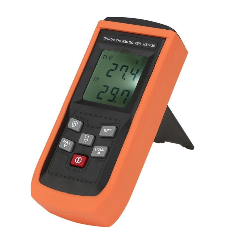 Portable Digital Dual Channel Probe K-Type Thermocouple Thermometer Pyrometer Temperature Meter Tester w/Backlight k j type single channel thermometer temperature meter tester gauge tm 80n