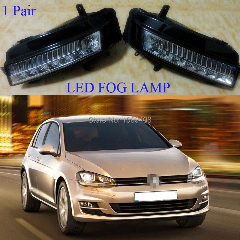 2 Pieces/Pair LH and RH LED fog lamps driving light bumper fog lights for VW MK7 Volkswagen Golf VII 7 2014