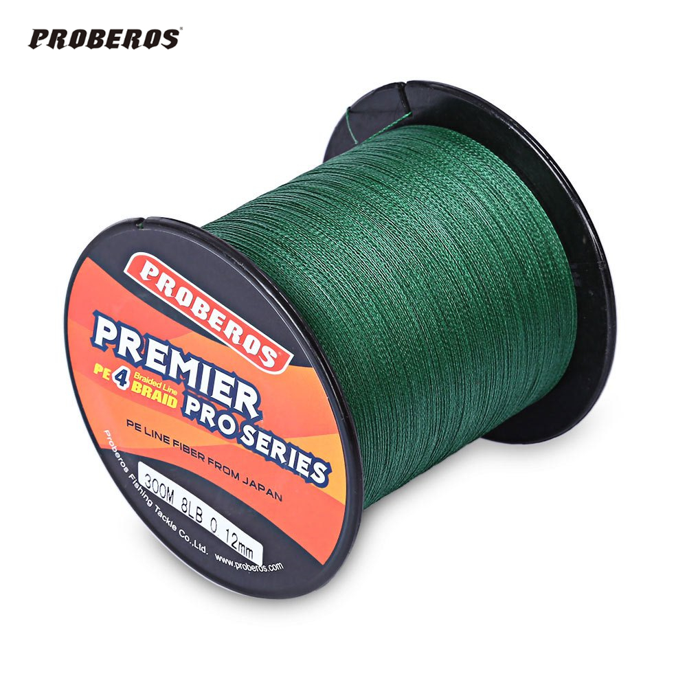 PRO BEROS 300M PE Braided Fishing Line 4 Stands 6LBS to 80LB Multifilament Fishing Line Angling Accessories 5 Colors 4 Strands