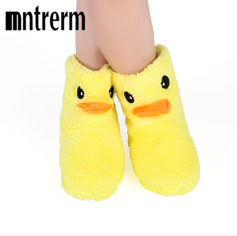 The New Big Yellow Duck Cute Cotton Shoes Women Home Slippers High Shoes Home Warm Shoes Winter Indoor Plush Slippers soft plush big feet pattern winter slippers