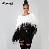 Mutevole Fashion O Neck Tassel Sexy Sweater Women Elastic Long Sleeve Knitted Sweater Pullover Night Clubwear Crochet Crop Top