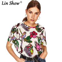 LINSHOW Casual Animal Printed Woman Tshirt Top Loose O Neck Funny T Shirts Elegant Beach Home