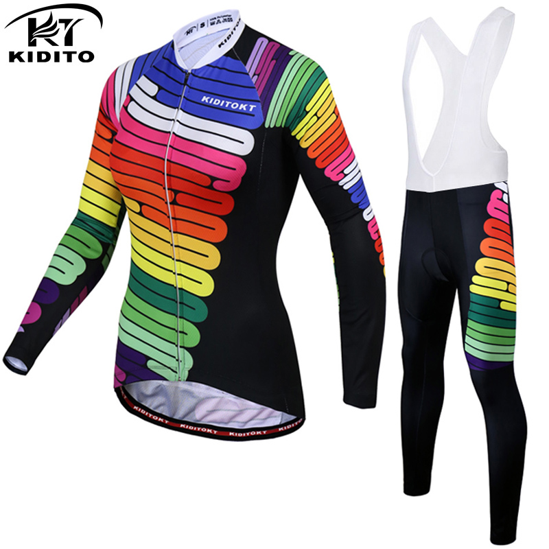 KIDITOKT Keep Warm Womens Lycra Breathable Winter Thermal Cycling Clothing Sets Long Sleeve Cycling Jersey Set Cycling Jerseys
