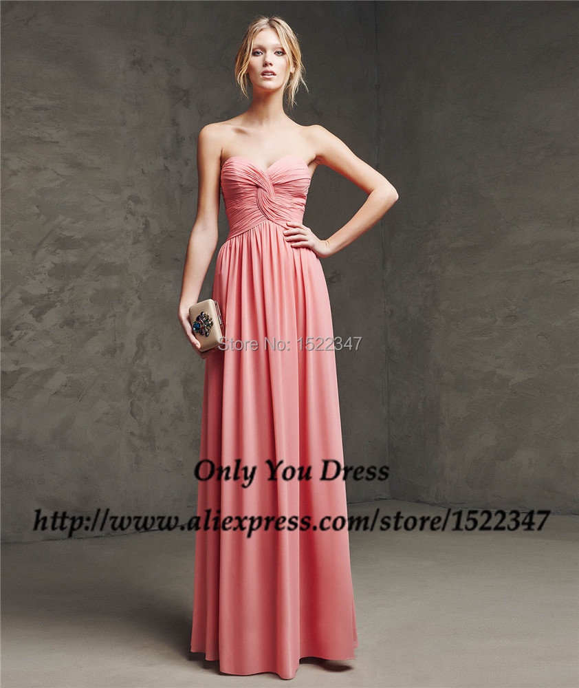 China Maternity Chiffon Peach Bridesmaid Dresses Long Wedding Guest ...