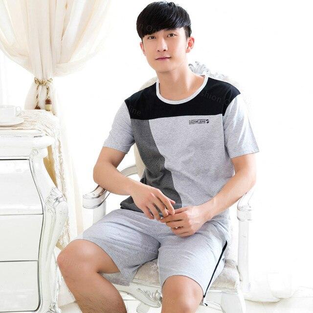 On Sales Mens Tracksuit  Pajamas Patchwork Pajama Sets Cotton Sleepwear  Men's Sleep&Lounge Gray T-shirts Fashion Clothing