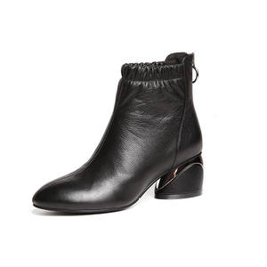Image 5 - MORAZORA 2020 הגעה לניו מגפי עור עגול הבוהן קרסול מגפי נשים רוכסן אופנה סתיו עקבים גבוהים שמלת נעליים