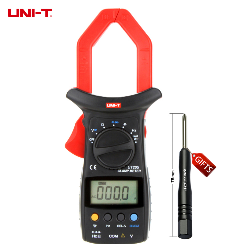 UNI-T UT205 Auto Range AC/DC Voltage AC Currency Resistance Capacitance Frequency Digital Clamp Multimeters w/ LCD Backlight uni t ut501b insulation resistance testers auto range lcd backlight high voltage indication