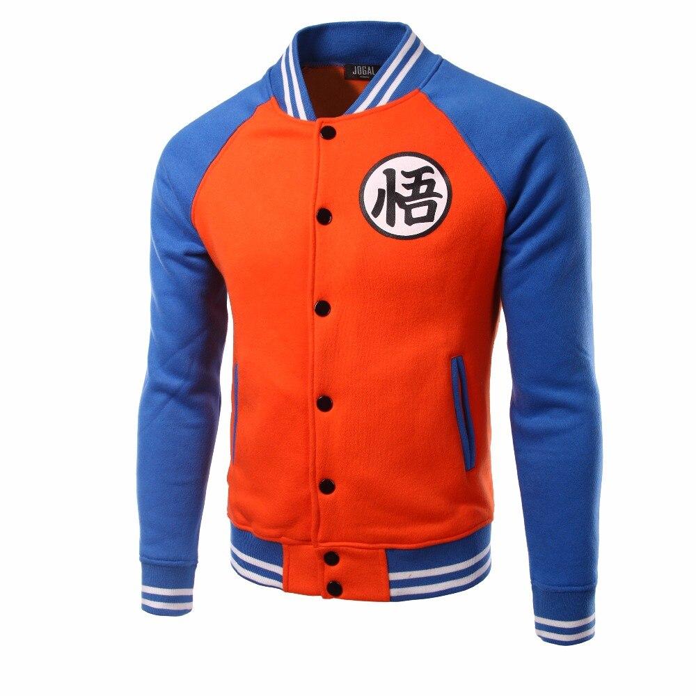 Marca Dragon Ball béisbol chaqueta hombres 2016 mens anime Cosplay Varsity Chaquetas otoño fleece algodón Veste homme