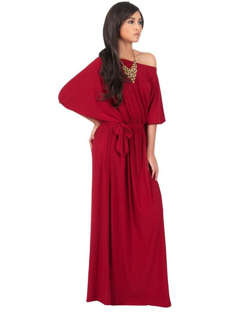 Sexy Women Boho Long Maxi Party Dresses Plus Size Cothing Loose Black  Vintage Elegant Evening Red Dress Vestido Longo De Festa a89b2b16db8c