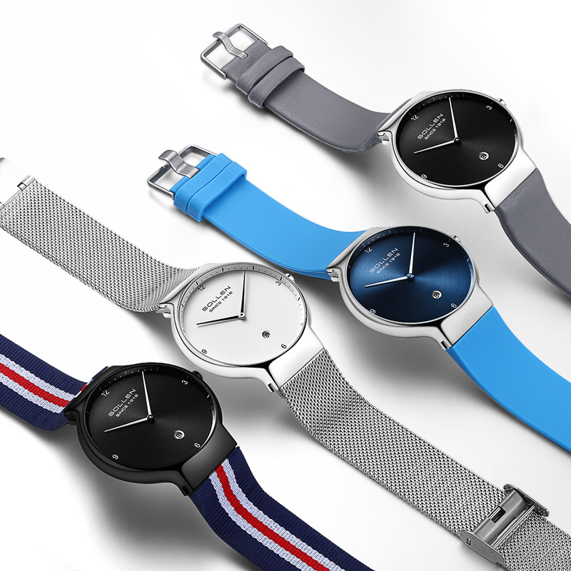 Solon brand luxury men's and women's watches couple quartz ultra-thin clock waterproof sports watch casual watch