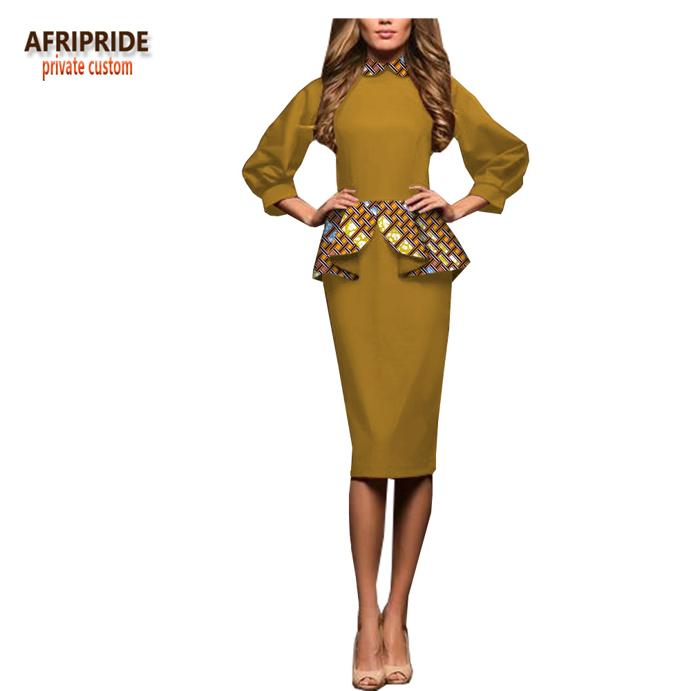 2018 spring casual women pencil dress AFRIPRIDE african print three quarter sleeve knee length batik dress with ruffles A1825046 in Dresses from Women 39 s Clothing