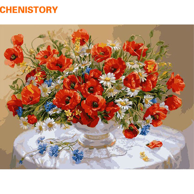 CHENISTORY Red Flower DIY Digital Painting By Numbers With Inner Wooden Framed 40x50 Kit Coloring Paint By Numbers For Kids Gift