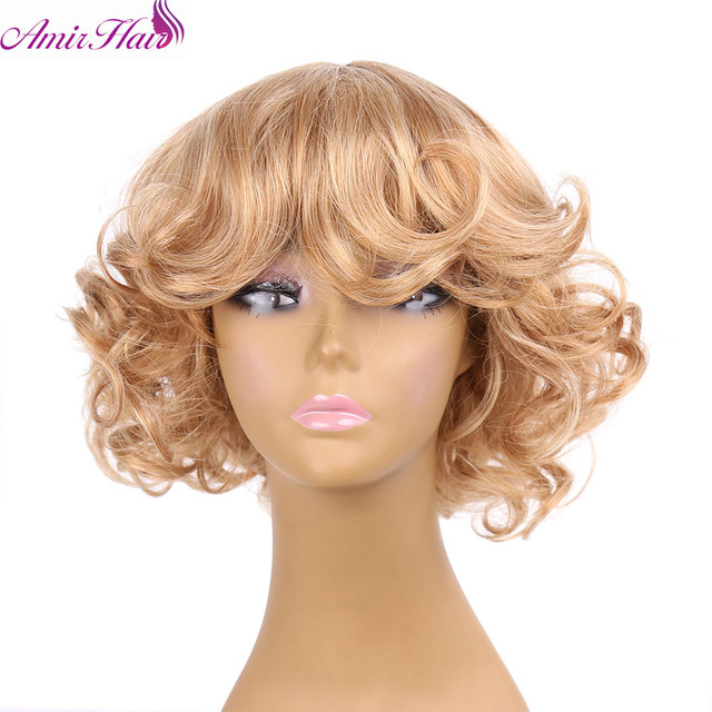 Amir Hair Fluffy short wig blonde Synthetic Curly Short hair Wig  blonde Ombre Synthetic Wigs For Black Women ombre body wave