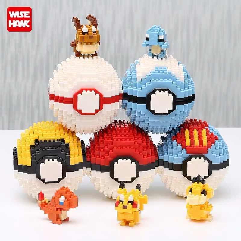 Wisehawk Bola Ir Magikarp Psyduck Pikachu Charmander Eevee Figuras de Ação Anime Modelo Blocos Toy Crianças Dos Desenhos Animados Presente Brinquedo