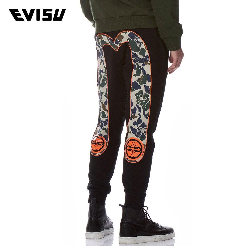 EVISU 2018 New Style Men's Sweatpants Spring Summer Casual Big M Long Pants Men Printed Lovers Black Trousers Evergreen