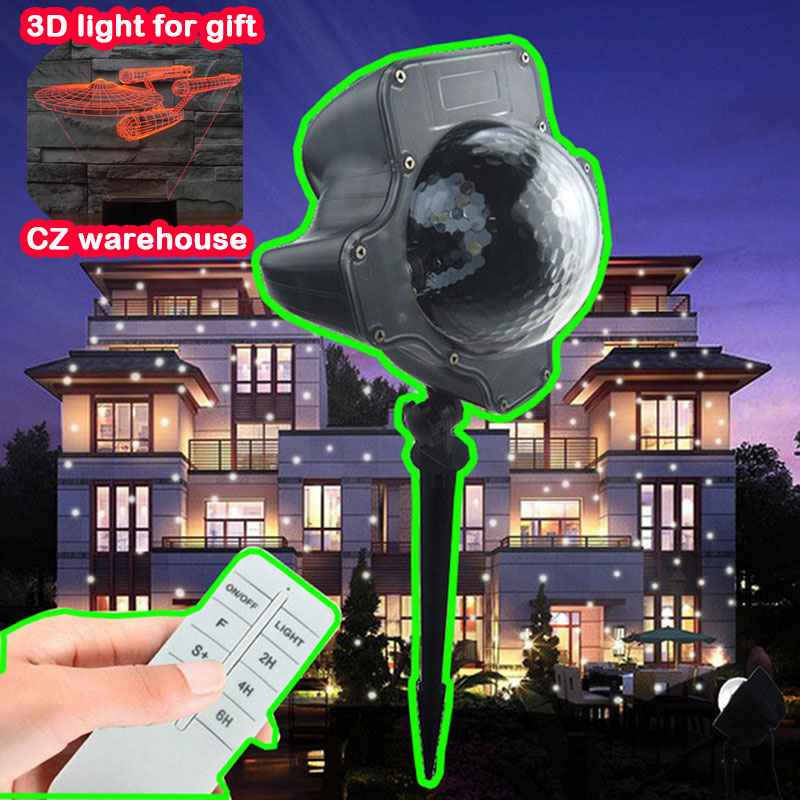 White Waterproof christmas lights decoration LED Snow Projector Holiday Light Rotating Lawn Landscape Garden lighting цена