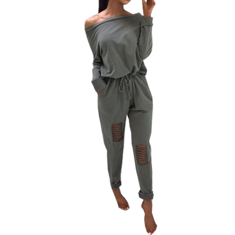 Off Shoulder 2018 Autumn   Jumpsuit   Femme Punk Style Holes   Jumpsuits   Street Fashion Women Sexy Long Sleeve Slash-Neck Romper GV946
