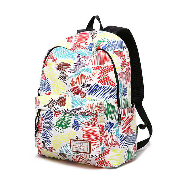 234739dd0132 2018 Girls School bag Graffiti print design Backpack Female Backpacks  college students Fashion Striped Bag Women Travel Mochilas