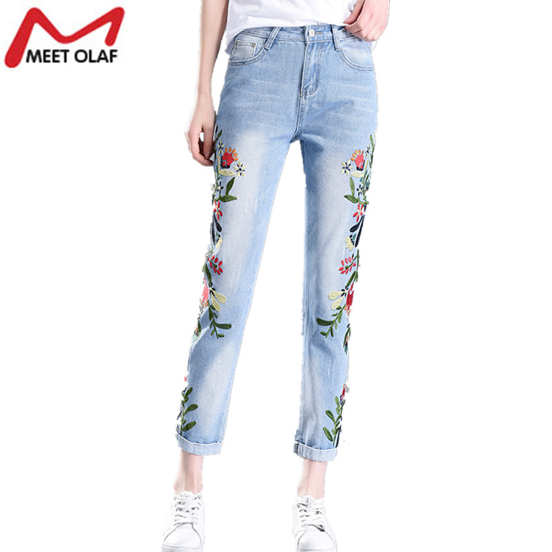 2017 Fashion Jeans with embroidery Women vintage bleached denim ankle length pants cuffs Harem pants pantalon femme mujer YL521 summer vintage women lace hole jeans high waist floral embroidery fashion ankle length cross pants women denim jeans harem pants