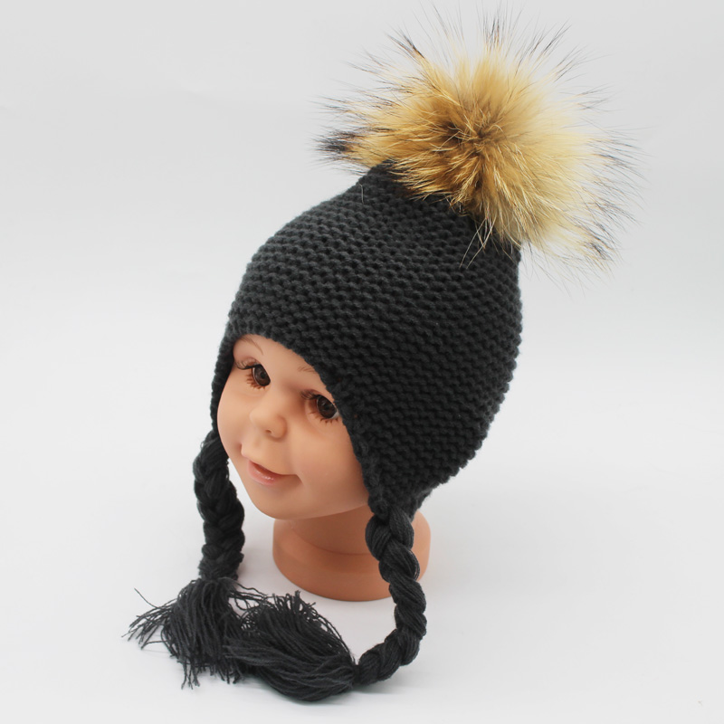 FURANDOWN 2018 Mode Winter Pompon Hoeden For Kids Meisjes Gebreide - Kledingaccessoires - Foto 5