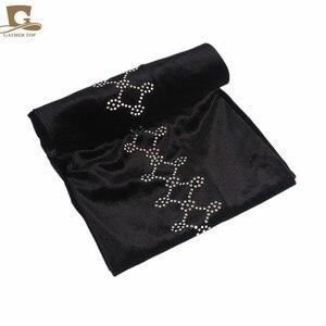 Image 4 - Novo Luxo magia Veludo Nigeriano Diamante Cravejado Extra Longas mulheres muçulmanas Cabeça Turbante envoltório Lenço Mulheres Hijab Turbante