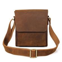 лучшая цена Retro Genuine Leather Messenger Bag Men's Quality Original First Layer Cowhide Bag Casual Business Simple Design Brand Package