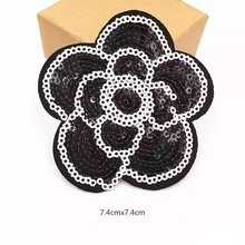 10pcs / lot Sequins Flower Patch Jern på Broderi Klær Patches DIY Garment Motifs Sequin Fabric Appliques Ny