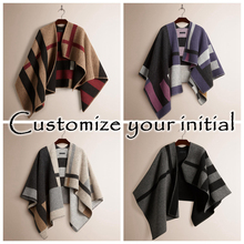 Blanket Poncho Wool-Scarf Top-Cashmere Plaid Monogram Winter Brand Women Wraps Stole