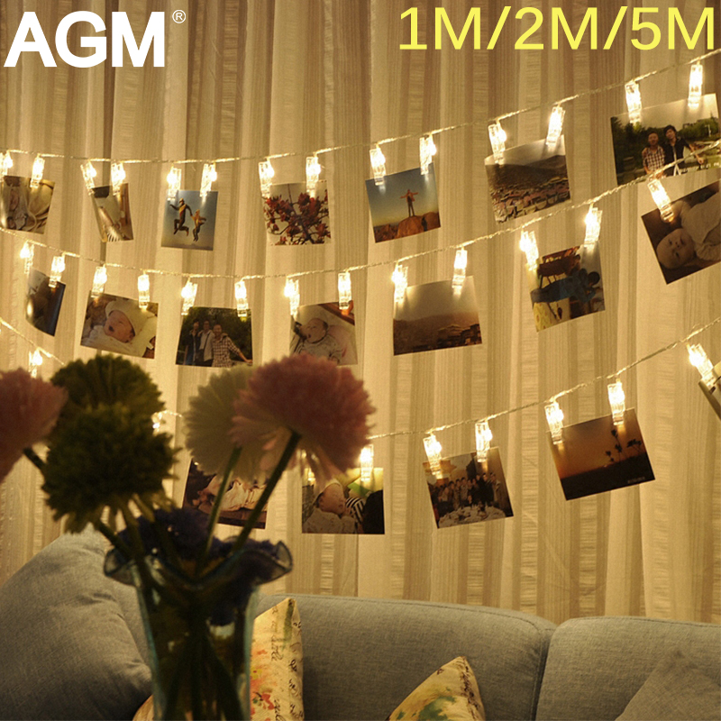 AGM 5M Garland LED String Lights Fairy Lamp Starry Battery Card Photo Clip Festival Christmas Wedding Holiday Decoration Light 5m 50 led string light for showcase courtyard decoration festival celebration