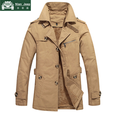 2018 Winter Warm Jacket Men Slim Fit Classic Thicken Trench Coat Mens Cotton But