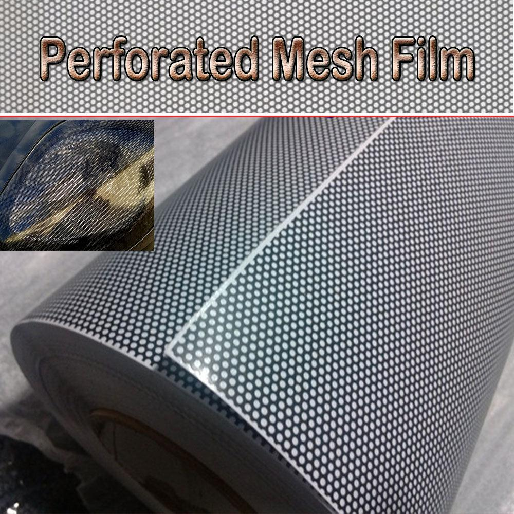 Universal 30x100CM PVC Perforated Mesh Hollow Film Car Headlight Taillight Car Styling Car Light Sticker