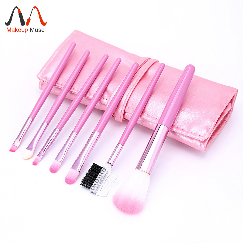 Professional 7 PCS Makeup Brush Set Tools Foundation Make - up Toiletry Kit eyebrow Eye shadow Brush Make up Blush Set Case Pink 147 pcs portable professional watch repair tool kit set solid hammer spring bar remover watchmaker tools watch adjustment