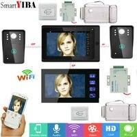 SmartYIBA 7 2 Monitors Wired /Wireless Wifi Video DoorPhone Doorbell Intercom System with Mobile phone APP control unlock