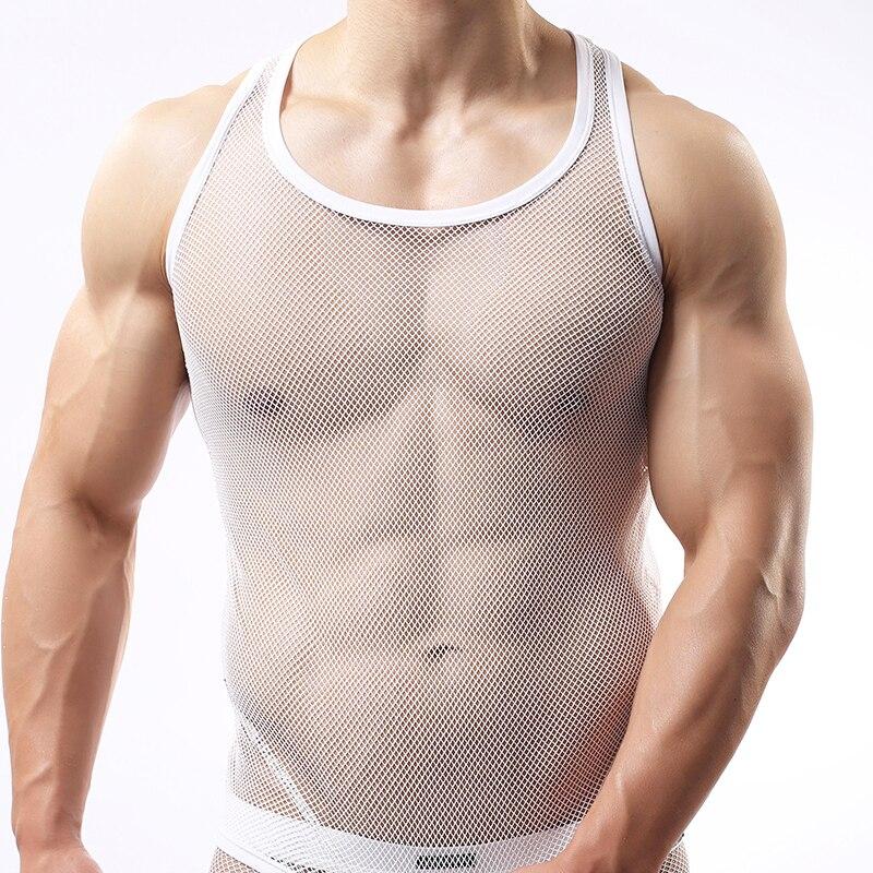 Man Underwear Male Funny Mesh Fishnet Singlets Undershirts Gay Sexy  Breathable Plaid Transparent Sleeveless Vest -in Undershirts from Underwear    Sleepwears ... 0d57c5194