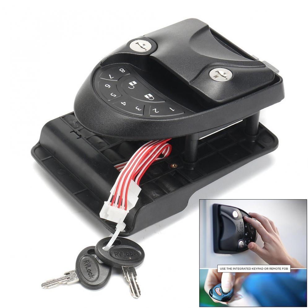Universal 3 In 1 RV Lock Keyless Handle Password Integrated Keypad Remote Lock & Key Lock Fob Trailer Hitch Password Lock