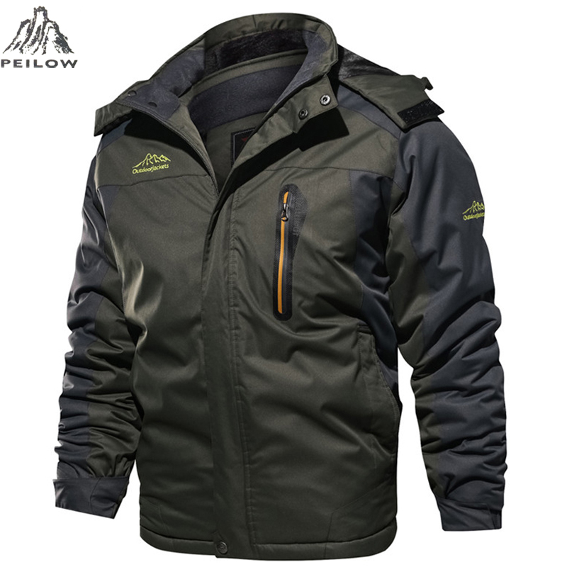 Winter Jacket men Windbreaker Waterproof Thick Fur Hooded Warm Parka Coat Male Fleece Ski snow Jackets size <font><b>6XL</b></font> <font><b>7XL</b></font> 8XL <font><b>9XL</b></font> image