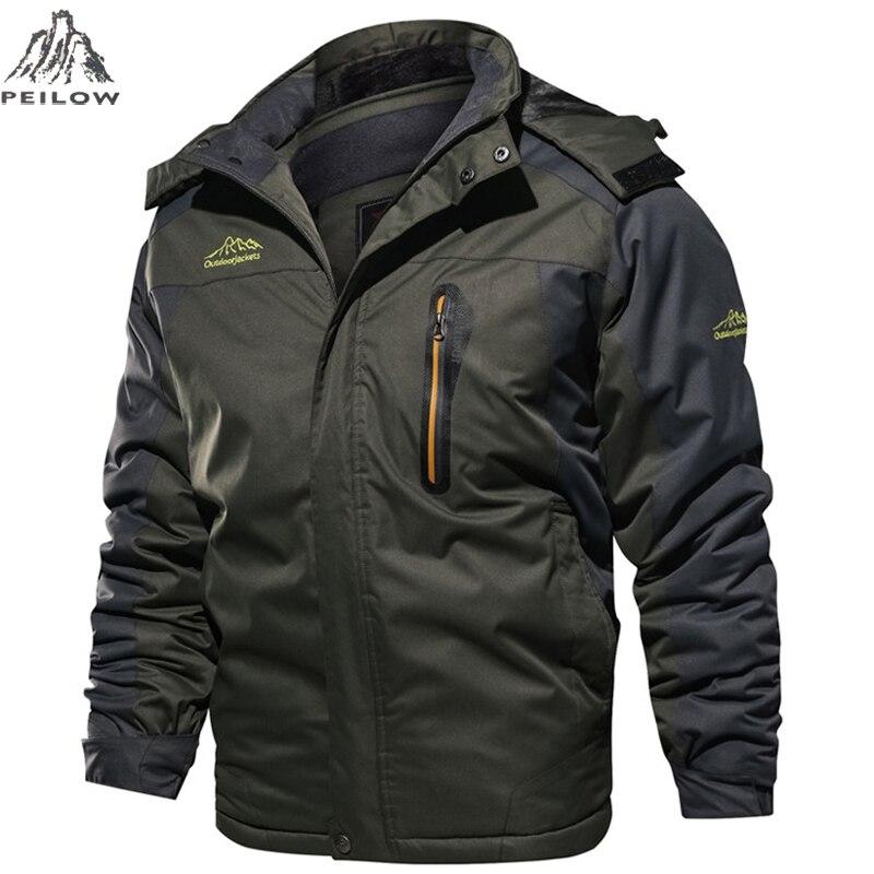Winter Jacket men Windbreaker Waterproof Thick Fur Hooded Warm   Parka   Coat Male Fleece Ski snow Jackets size 6XL 7XL 8XL 9XL