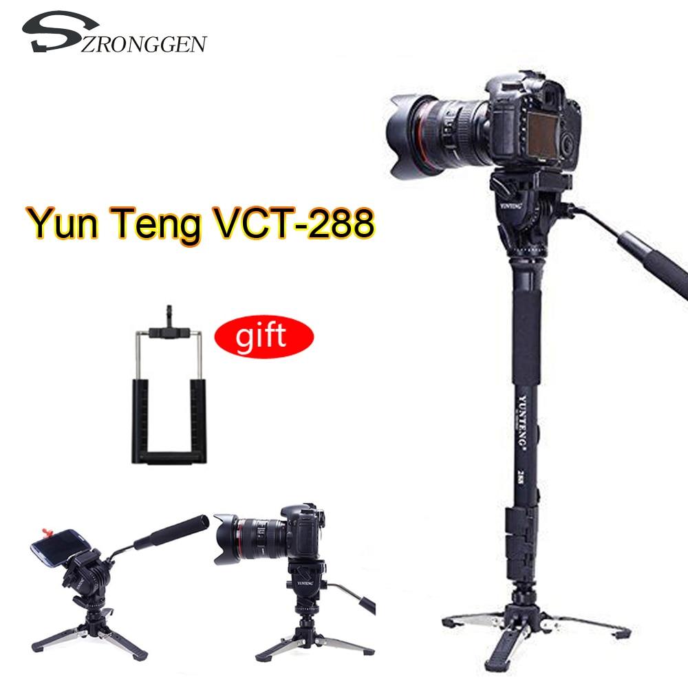 Yunteng 288 Camera Monopod VCT 288 Unipod Holder Fluid Pan Head For Canon Nikon Sony