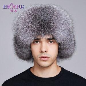 Image 1 - ENJOYFUR kış şapka kış kulaklığı erkekler gerçek fox kürk şapkalar erkekler rus ushanka kürk kulak koruyun yeterince sıcak rus kalpak bombacı şapka