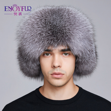 ENJOYFUR winter hat oorklep mannen echt vossenbont hoeden mannen russische ushanka fur beschermen oor warm genoeg rus kalpak bomber hoed