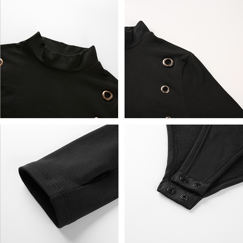 Rapwriter Sexy Hole Black Woolen Bodysuits Women 2018 Autumn Winter Keep  Warm Stand Collar Thumb Sleeve Bodycon Sheer Bodysuit-in Bodysuits from  Women s ... 32ae3638b