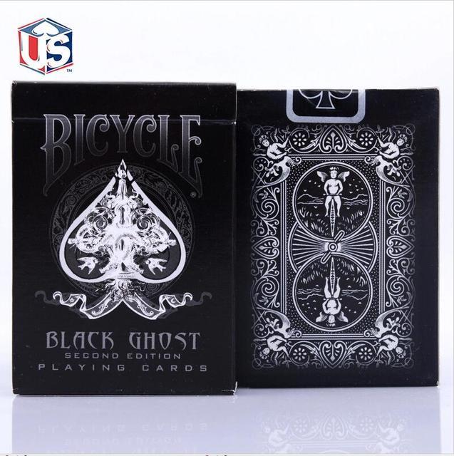 Nueva Ellusionist Cubierta Fantasma Negro De Bicicletas de Segunda Edición Naipes Trucos de Magia Tarjeta de Poker Magia Juguetes Mágicos
