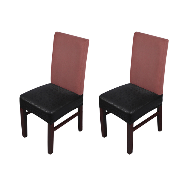 2pcs Removable And Reusable Dining Chair Seat Covers Waterproof Oilproof Dustproof Pu Leather Slipcovers Protectors