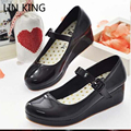 LIN KING Lolita Sweet Lourie Cosplay Single WomeSn hoes Lady Wedge Shoes Fashion Women Pumps Platform Leisure Party Shoes Female