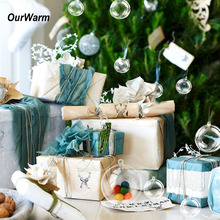 Ourwarm 10pcs Christmas Tree Decorations Ball 7cm Transparent Open Plastic Clear Bauble Ornament Gift Present Box Decoration(China)