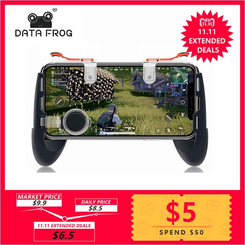 Los datos de la rana Pubg juego Gamepad para teléfono móvil controlador de juego l1r1 tirador gatillo fuego botón para IPhone para cuchillos fuera