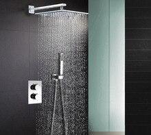 """304 paslanmaz çelik kare 8 """"veya 10"""" veya 12 """"veya 16"""" yağmur biçimli duş termostatik duş bataryası vana duş seti SS001"""